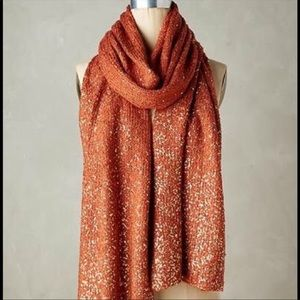 Anthropology gold shimmered burnt orange scarf